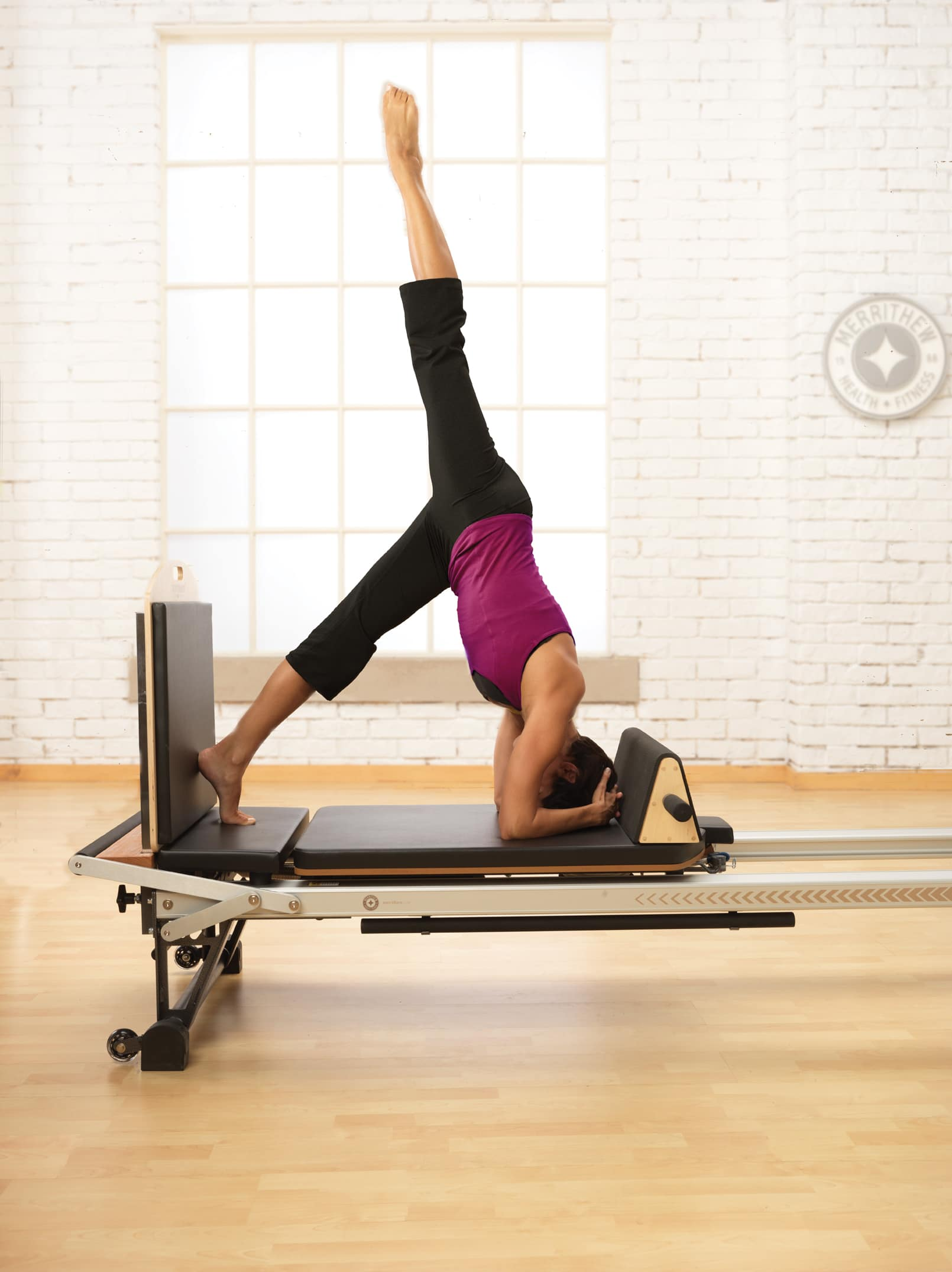Zenga Equipment - Headstand with Jump Board and Triangle on the Stott Pilates Reformer